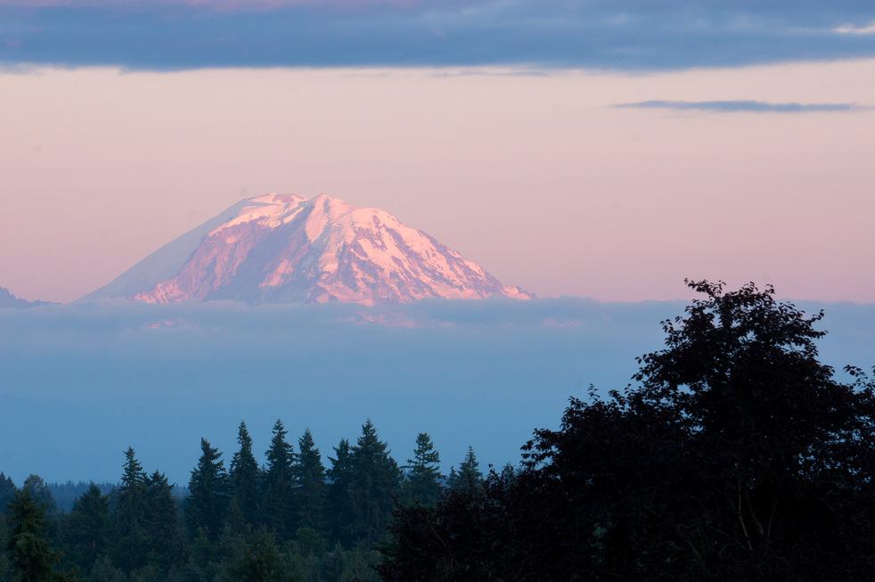 Mount Rainier at Sunset from Newcastle, WA