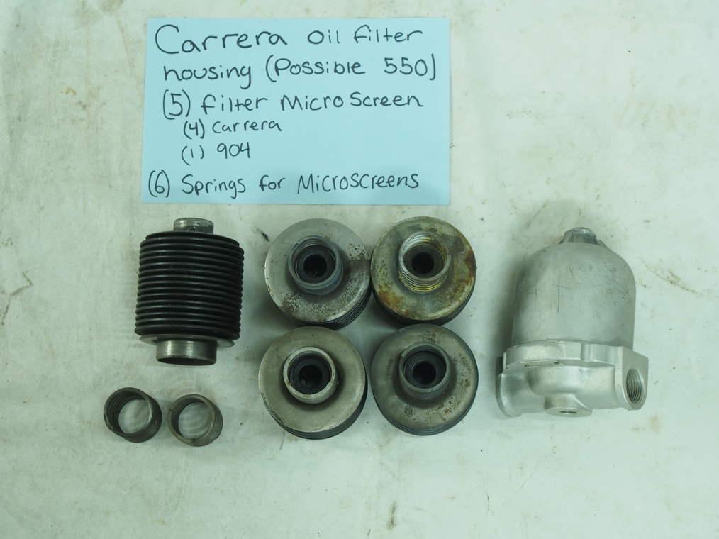 Carrera oil filter housing ( possible 550) , (5) filter microscreen, -(4)-Carrera -(1)-904 (6) springs for microscreens