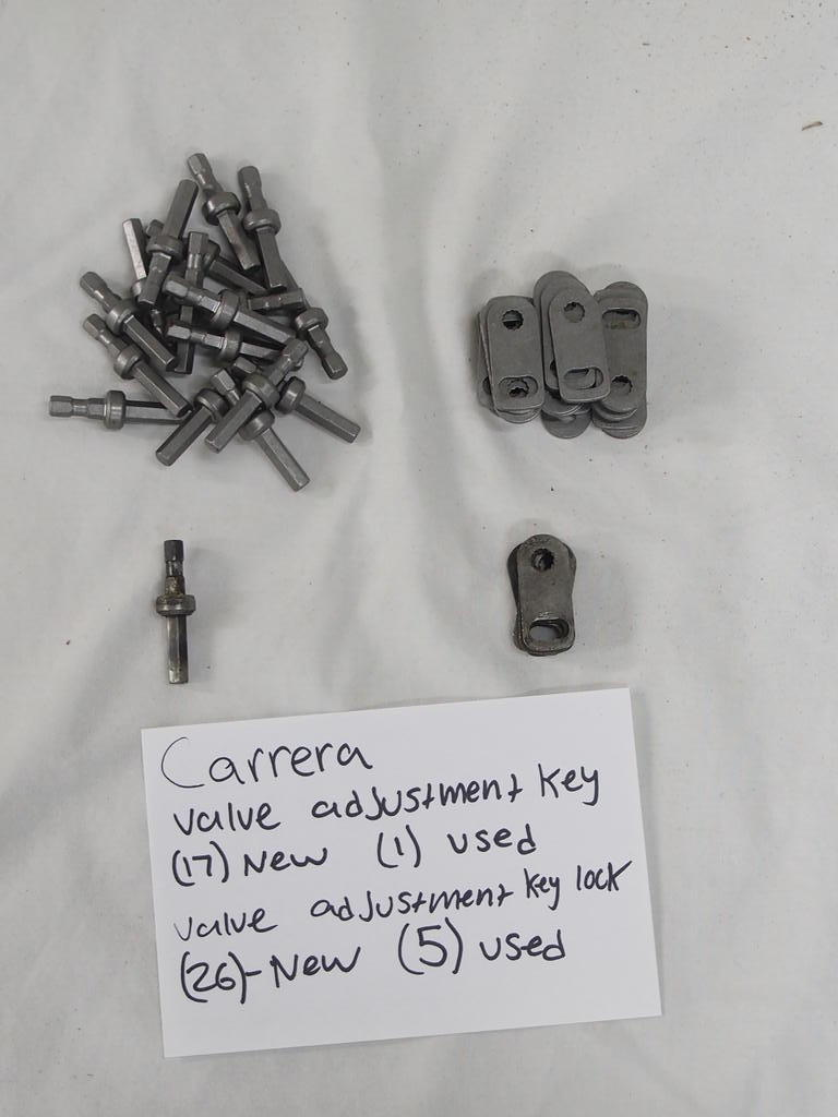 Carrera valve adjustment key  (17) - new  (1) - used  Valve adjustment key lock  (26) - New  (5) - used