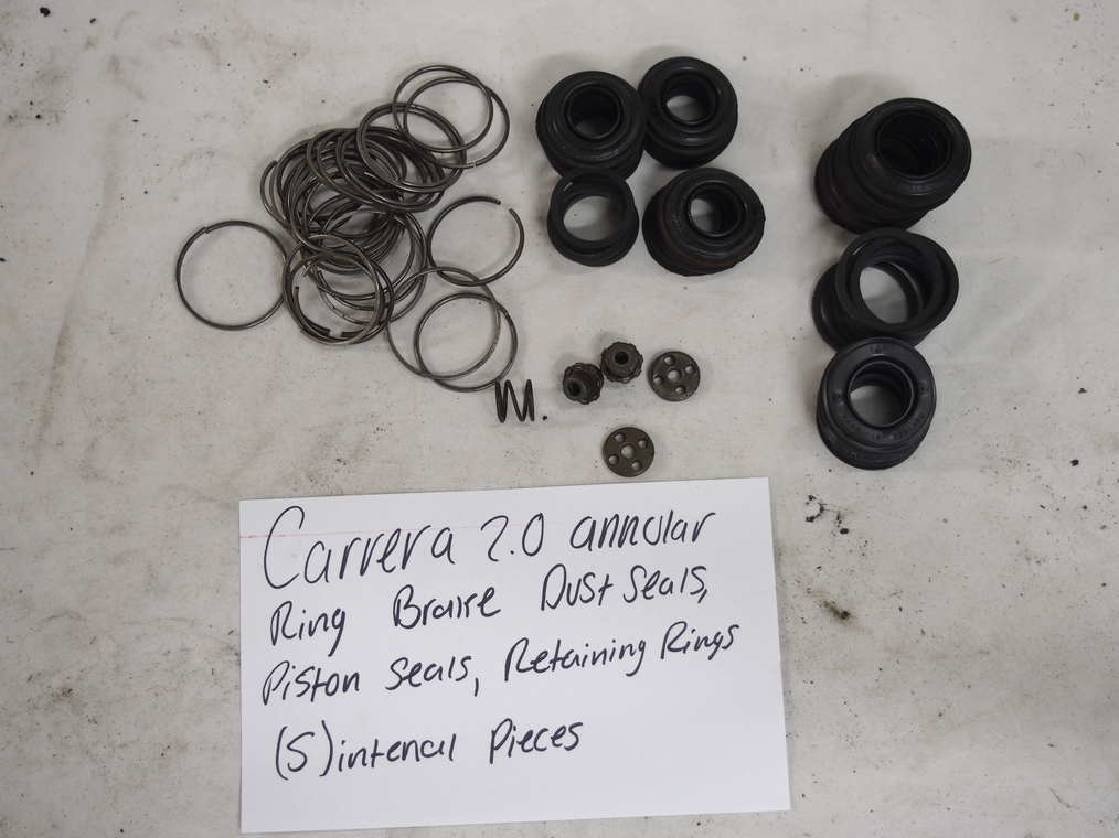 Carrera 2.0 annular ring brake dust seal, pistons seals , retaining rings  (5) internal pieces