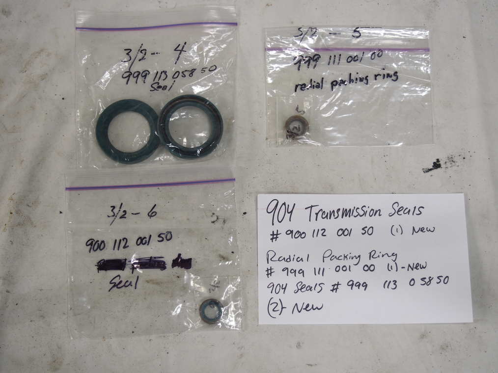 904 transmission seals #900 112 001 50 (1) ? new 904 radial racking ring # 999 111 001 00 (1) ? new 904 seals #999 113 058 50 (2) ? new
