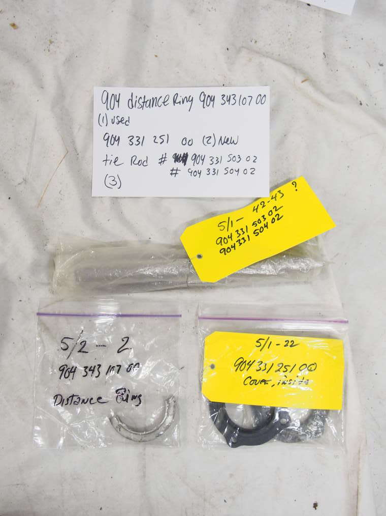 904 distance ring #904 331 107 00 (1) ? Used 904 inside cover #904 331 251 00 (2) New  904 tie rod (3) #904 331 503 02 #904 331 504 02