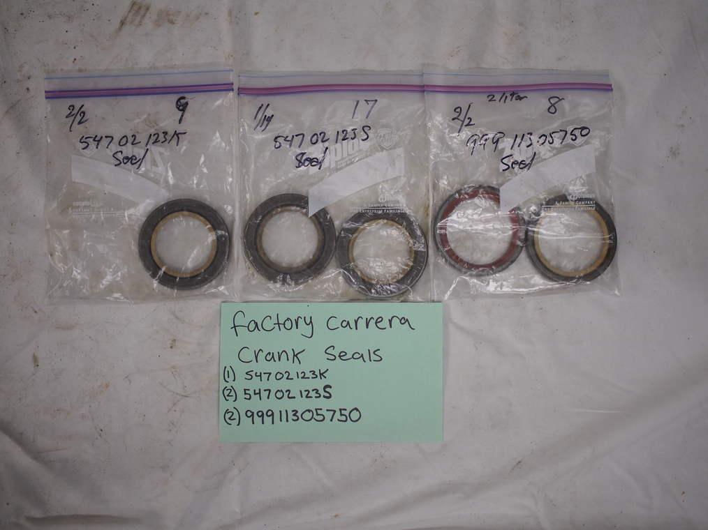 Factory crank seals (1) 54702123K, (2)54702123S, (2)99911305750