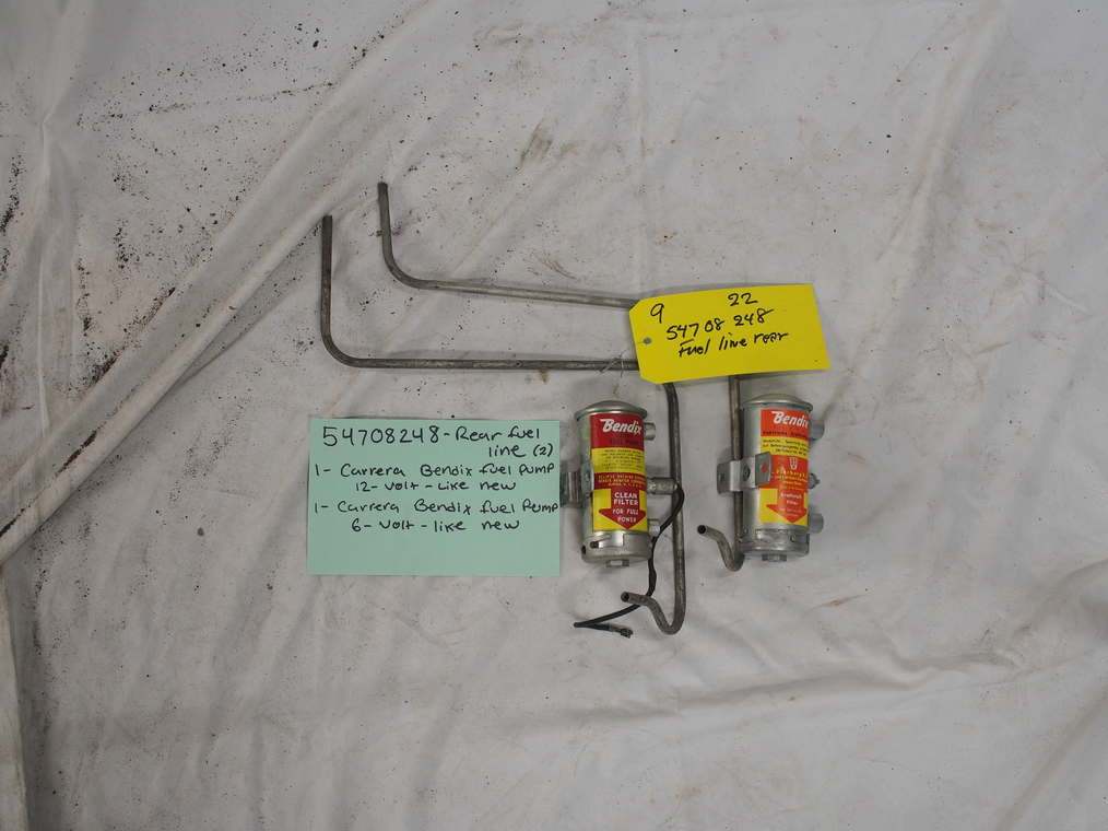 54708248 fuel line rear (2), 1- carrera bendix fuel pump 12V like new, 1 carrera Bendix fuel pump 6V like new